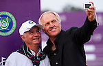 Greg Norman and Javier Ochoa during the Mission Hills Start Trophy at the Mission Hills Golf Resort on October 31, 2010 in Haikou, China. The Mission Hills Star Trophy is Asia's leading leisure liflestyle event and features Hollywood celebrities and international golf stars. Photo by Victor Fraile