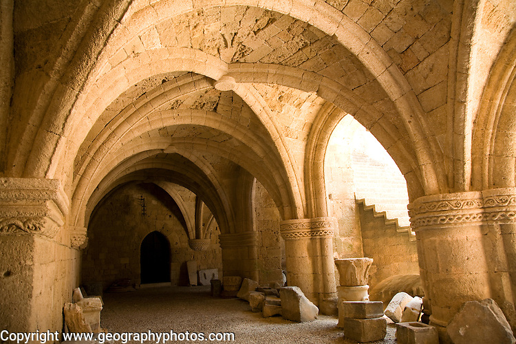 Vaulted stone roofing columns, Archaeological museum, Rhodes, Greece
