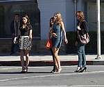November 12th 2012 <br /> <br /> AnnaLynne McCord , Shenae Grimes , Jessica Stroup , Jessica Lowndes filming the tv show 90210 in Los Angles. Wearing a blue green black Short skirt dress showing off legs orange purse big purple gold chain rock necklace kissing and petting a puppy dog<br /> <br /> <br /> AbilityFilms@yahoo.com<br /> 805 427 3519 <br /> www.AbilityFilms.com