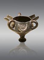 Bronze Age Anatolian terra cotta vessel with strainer - 19th to 17th century BC - Kültepe Kanesh - Museum of Anatolian Civilisations, Ankara, Turkey. Against a grey background.