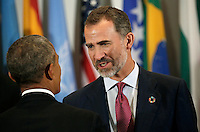Felipe VI of Spain greets United States President Barack Obama at a luncheon for world leaders during the United Nations 71st session of the General Debate at United Nations  headquarters in New York, New York, USA, 20 September 2016. Photo Credit: Peter Foley/CNP/AdMedia