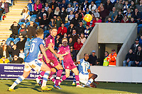 Frank Nouble of Colchester United sends an inviting ball just in front of the six yard area which no one can take advantage of for the hosts during Colchester United vs Carlisle United, Sky Bet EFL League 2 Football at the JobServe Community Stadium on 23rd February 2019