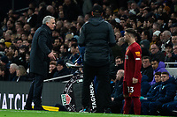 Tottenham Manager Jose Mourinho questions the Fourth Official Andre Marriner<br /> <br /> Photographer Stephanie Meek/CameraSport<br /> <br /> The Premier League - Tottenham Hotspur v Liverpool - Saturday 11th January 2020 - Tottenham Hotspur Stadium - London<br /> <br /> World Copyright © 2020 CameraSport. All rights reserved. 43 Linden Ave. Countesthorpe. Leicester. England. LE8 5PG - Tel: +44 (0) 116 277 4147 - admin@camerasport.com - www.camerasport.com