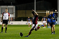 Harry Sheppard of London Scottish kicks the conversion during the Championship Cup match between London Scottish Football Club and Yorkshire Carnegie at Richmond Athletic Ground, Richmond, United Kingdom on 4 October 2019. Photo by Carlton Myrie / PRiME Media Images