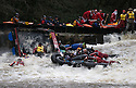 26/12/15<br /> <br /> Soaked Santas.<br /> <br /> Dozens of competitors are tossed into the Derwent as the extremely swollen river launches rafts, uncontrollably, down a weir along the route of the Boxing Day Race at Matlock Bath in Derbyshire.<br /> <br /> <br /> All Rights Reserved: F Stop Press Ltd. +44(0)1335 418365   www.fstoppress.com.