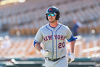 Scottsdale Scorpions first baseman Peter Alonso (20), of the New York Mets organization, jogs back to the dugout after hitting a home run during an Arizona Fall League game against the Glendale Desert Dogs at Camelback Ranch on October 16, 2018 in Glendale, Arizona. Scottsdale defeated Glendale 6-1. (Zachary Lucy/Four Seam Images)