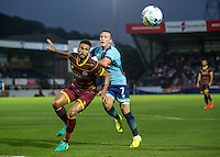 Steven Caulker of QPR tussles with Garry Thompson of Wycombe Wanderers during the Pre-Season Friendly match between Wycombe Wanderers and Queens Park Rangers at Adams Park, High Wycombe, England on the 22nd July 2016. Photo by Liam McAvoy / PRiME Media Images.