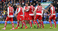 Fleetwood Town's Ashley Eastham (centre) is mobbed after scoring his sides second goal <br /> <br /> Photographer David Shipman/CameraSport<br /> <br /> The EFL Sky Bet League One - Peterborough United v Fleetwood Town - Friday 14th April 2016 - ABAX Stadium  - Peterborough<br /> <br /> World Copyright &copy; 2017 CameraSport. All rights reserved. 43 Linden Ave. Countesthorpe. Leicester. England. LE8 5PG - Tel: +44 (0) 116 277 4147 - admin@camerasport.com - www.camerasport.com