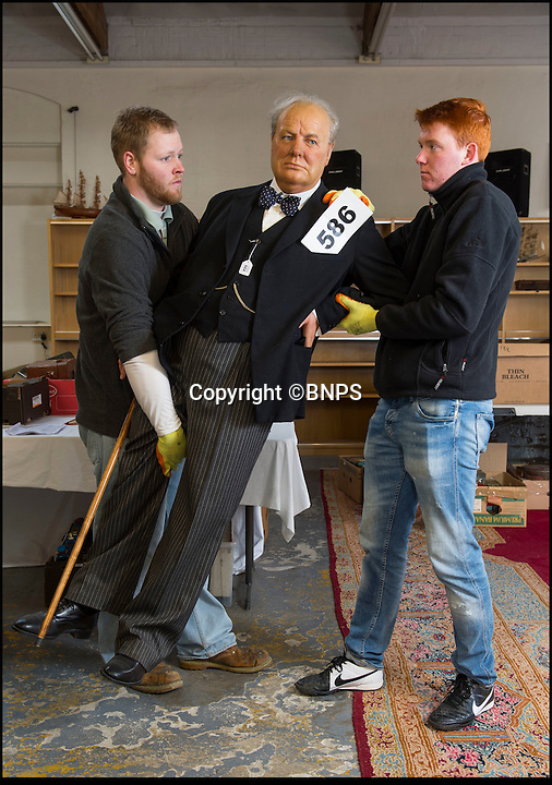 BNPS.co.uk (01202 558833)<br /> Pic: PhilYeomans/BNPS<br /> <br /> Very undignified - Churchill...sold for £8000.<br /> <br /> A waxwork statue of Sir Winston Churchill has led a £20,000 sale of a bizarre assortment of lifelike figures of the great and the good.<br /> <br /> The life-size model of the wartime Prime Minister in his pomp sold for nearly £8,000 to a private individual who plans to put it in his living room for display.<br /> <br /> The next highest figure was that of a highly-realistic Henry VIII - and everyone of his six wives. The royal group sold for £3,600 to a television props company.<br /> <br /> Other waxworks that sold included a figure of a Chelsea Pensioner, Tom Thumb dressed as Napolean Bonarpate and Queen Alexandra.<br /> <br /> The figures were all sold by the owners of Yesterday's World, a provincial museum dedicated to British social history. The attraction, in Great Yarmouth, Norfolk, went out of business last November.