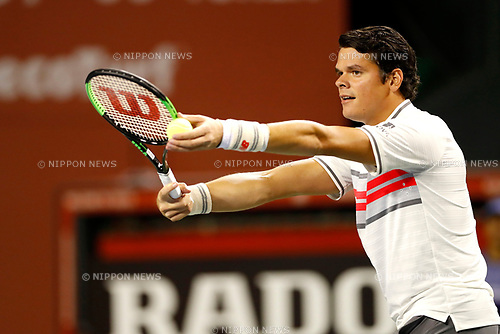 Milos Raonic (CAN), <br /> OCTOBER 5, 2017 - Tennis : <br /> Rakuten Japan Open Tennis Championships 2017 <br /> Singles 2nd round match <br /> at Ariake Coliseum, Tokyo, Japan. <br /> (Photo by Yohei Osada/AFLO)