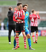 Lincoln City's Tom Pett, left, and Lincoln City's Josh Vickers celebrate at the end of the game<br /> <br /> Photographer Chris Vaughan/CameraSport<br /> <br /> The EFL Sky Bet League Two - Lincoln City v Crewe Alexandra - Saturday 6th October 2018 - Sincil Bank - Lincoln<br /> <br /> World Copyright &copy; 2018 CameraSport. All rights reserved. 43 Linden Ave. Countesthorpe. Leicester. England. LE8 5PG - Tel: +44 (0) 116 277 4147 - admin@camerasport.com - www.camerasport.com