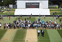 23rd November 2019; Mt Maunganui, New Zealand;  Fans inspect the wicket at Lunch on Day 3, 1st Test match between New Zealand versus England. International Cricket at Bay Oval, Mt Maunganui, New Zealand.  - Editorial Use