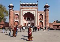 Agra, India.  Taj Mahal.  Gateway Entrance opening to the Taj and its Gardens.