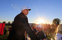 Ricky Fowler heading for the media centre after the presentation after the Singles matches at the Ryder Cup, Hazeltine National Golf Club, Chaska, Minnesota, USA.  03/10/2016<br /> Picture: Golffile | Fran Caffrey<br /> <br /> <br /> All photo usage must carry mandatory copyright credit (&copy; Golffile | Fran Caffrey)