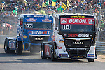 German driver Rene Reinert belonging German team Rene Reinert and Monegasque driver Ellen Lohr belonging German team Truck Sport Lutz Bernau during the fist race R1 of the XXX Spain GP Camion of the FIA European Truck Racing Championship 2016 in Madrid. October 01, 2016. (ALTERPHOTOS/Rodrigo Jimenez)