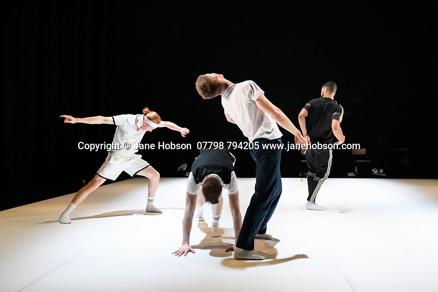 "Birmingham, UK. 06.02.2020. 2Faced Dance present a triple bill, entitled ""EVERYTHING (but the girl)"", in the Patrick Studio, Birmingham Hippodrome. The company celebrate their 20th anniversary with this world premiere. The piece shown is: ""The Qualies"", choreographed by Fleur Darkin. The dancers are: Louis Parker-Evans, Cameron Woolnough, Will Hodson, John Robinson. Photograph © Jane Hobson."