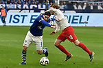 16.03.2019, VELTINS-Arena, Gelsenkirchen, GER, DFL, 1. BL, FC Schalke 04 vs RB Leipzig, DFL regulations prohibit any use of photographs as image sequences and/or quasi-video<br /> <br /> im Bild v. li. im Zweikampf Sutat Serdar (#8, FC Schalke 04) Emil Forsberg (#10, RB Leipzig) <br /> <br /> Foto © nph/Mauelshagen