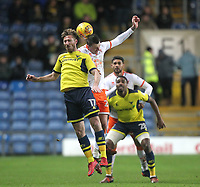 Blackpool's Callum Cooke jumps with  Oxford United's James Henry <br /> <br /> Photographer Mick Walker/CameraSport<br /> <br /> The EFL Sky Bet League One - Rochdale v Blackpool - Monday 1st January 2018 - Spotland Stadium - Rochdale<br /> <br /> World Copyright &copy; 2018 CameraSport. All rights reserved. 43 Linden Ave. Countesthorpe. Leicester. England. LE8 5PG - Tel: +44 (0) 116 277 4147 - admin@camerasport.com - www.camerasport.com