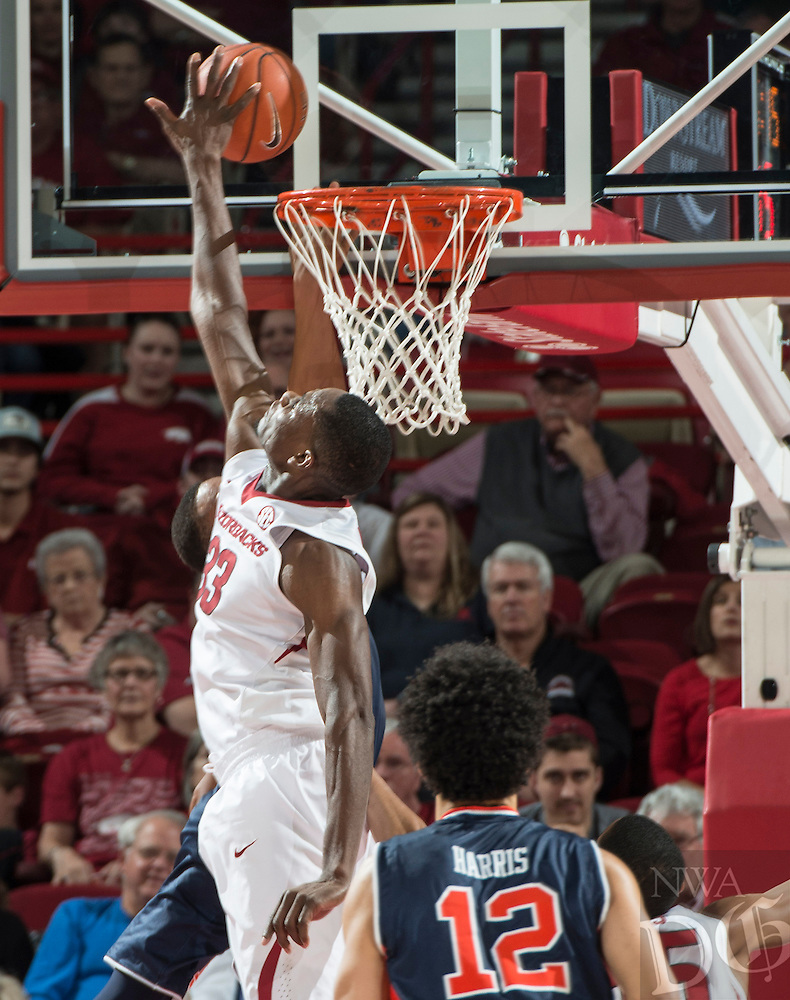 NWA Democrat-Gazette/ANTHONY REYES &bull; @NWATONYR<br /> Arkansas Razorbacks forward Moses Kingsley (33) blocks a shot against Auburn in the second half Wednesday, Feb. 17, 2016 at Bud Walton Arena in Fayetteville. The Razorbacks lost 90-86.
