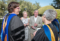 From left, Spanish and French studies professor Felisa Guillén, Linda and Tod White '59 and biology professor Gretchen North. The two professors are the recipients of the Tod and Linda White Teaching Prize presented during Convocation, Aug. 26, 2015.<br />