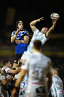 Will Safe of Gloucester Rugby wins the ball at a lineout. Premiership Rugby Cup match, between Bath Rugby and Gloucester Rugby on February 3, 2019 at the Recreation Ground in Bath, England. Photo by: Patrick Khachfe / Onside Images