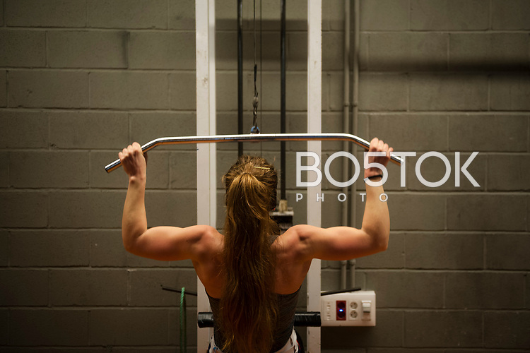 Ane Pescador, a Female rower on San Juan rower Club on a workout session in the club's gym. Pasaia (Basque Country). January 11, 2017. (Gari Garaialde / BostokPhoto)
