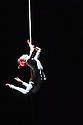 London, UK. 01.04.2016. Quebecoise circus group, Les 7 Doigts de la Main (The 7 Fingers) present TRIPTYQUE, at Sadler's Wells. The piece shown is NOCTURNES, choreographed by Marcos Morau. Performers are: Franklin Luy, Marie-Ève Dicaire, Alexandra Mizzen, Alvaro Fitinho, Anne Plamondon, Nicolas Montes de Oca, Matthew Pasquet, Kyra Jean Green. Picture shows: Alexandra Mizzen. Photograph © Jane Hobson.