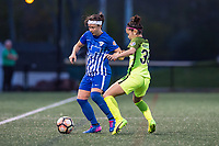 Boston, MA - Saturday April 29, 2017: Tiffany Weimer and Nahomi Kawasumi during a regular season National Women's Soccer League (NWSL) match between the Boston Breakers and Seattle Reign FC at Jordan Field.