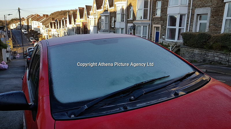 FROSTY WEATHER WALES<br /> Frost on parked cars in Swansea in the early morning. Wednesday 29 November 2017