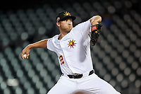 Mesa Solar Sox relief pitcher Will Vest (22), of the Detroit Tigers organization, during an Arizona Fall League game against the Scottsdale Scorpions on September 18, 2019 at Sloan Park in Mesa, Arizona. Scottsdale defeated Mesa 5-4. (Zachary Lucy/Four Seam Images)