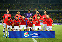 PEREIRA - COLOMBIA, 30-01-2020: Jugadores de Chile U-23  posan para una foto previo al partido por la fecha 5, grupo A, del CONMEBOL Preolímpico Colombia 2020 jugado en el estadio Hernán Ramírez Villegas de Pereira, Colombia. / Players of Chile U-23 pose to a photo prior the match for the date 5, group A, for the CONMEBOL Pre-Olympic Tournament Colombia 2020 played at Hernan Ramirez Villegas stadium in Pereira, Colombia. Photo: VizzorImage / Julian Medina / Cont