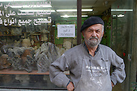 LEBANON, Beirut, armenian quarter Bourj Hammoud, armenian refugees and survivors from the genocide in the Ottoman Empire today Turkey have settled here in 1920, armenian sculptor Ashod Tazian / LIBANON, Beirut, Bourj Hammoud, ein armenisches Viertel das 1920 von Ueberlebenden und Fluechtlingen des Genozid im Osmanischen Reich bewohnt wurde, Bildhauer Ashod Tazian