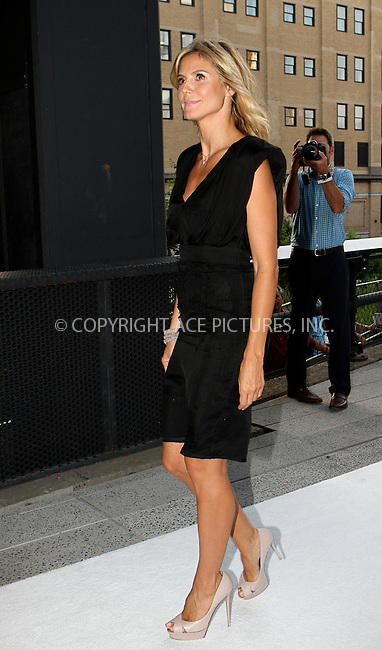 WWW.ACEPIXS.COM . . . . .  ....July 17 2012, New York City....Heidi Klum at the Project Runway Life-Sized Interactive Runway installation on The High Line In New York at The High Line on July 17, 2012 in New York City. ....Please byline: NANCY RIVERA- ACEPIXS.COM.... *** ***..Ace Pictures, Inc:  ..Tel: 646 769 0430..e-mail: info@acepixs.com..web: http://www.acepixs.com