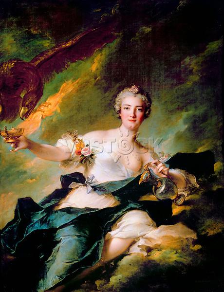 Portrait of Anne-Josephe Bonnier de La Mosson, duchesse de Chaulnes as Hebe by Nattier, Jean-Marc (1685-1766) / Louvre, Paris / 1744 / France / Oil on canvas / Portrait,Mythology, Allegory and Literature / 144x110 / Rococo