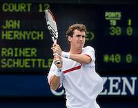 Jan HERNYCH (CZE) against Rainer SCHUETTLER (GER) in the first round. Hernych beat Schuettler 1-6 7-6 6-4 2-6 6-3..International Tennis - US Open - Day 1 Mon 31 Aug 2009 - USTA Billie Jean King National Tennis Center - Flushing - New York - USA ..Frey,  Advantage Media Network, Barry House, 20-22 Worple Road, London, SW19 4DH