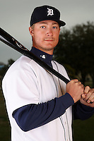 February 27, 2010:  Infielder Ryan Strieby (33) of the Detroit Tigers poses for a photo during media day at Joker Marchant Stadium in Lakeland, FL.  Photo By Mike Janes/Four Seam Images