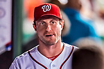 6 October 2017: Washington Nationals pitcher Max Scherzer walks the dugout during the first game of the NLDS against the Chicago Cubs at Nationals Park in Washington, DC. The Cubs shut out the Nationals 3-0 to take a 1-0 lead in their best of five Postseason series. Mandatory Credit: Ed Wolfstein Photo *** RAW (NEF) Image File Available ***