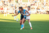 Kansas City, MO - Sunday September 11, 2016: Sofia Huerta, Katie Bowen during a regular season National Women's Soccer League (NWSL) match between FC Kansas City and the Chicago Red Stars at Swope Soccer Village.