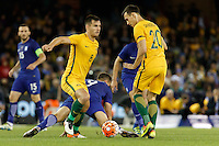 June 7, 2016: BAILEY WRIGHT (8) of Australia controls the ball during an international friendly match between the Australian Socceroos and Greece at Etihad Stadium, Melbourne. Photo Sydney Low