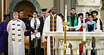 Members of DePaul's various religious groups join faculty and staff members as they gather in the Saint Vincent de Paul Parish Church on DePaul University's Lincoln Park Campus for the annual Baccalaureate Mass Friday, June 9, 2017. The event was part of the 119th commencement ceremonies for the Chicago university. (DePaul University/Jamie Moncrief)