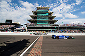May 28th Indianapolis Speedway, Indiana, USA;  Takuma Sato, driver of the #26 Andretti Autosport Honda, celebrates after crossing the famed yard of bricks to win the running of the 101st Indianapolis 500 on May 28th, 2017 at the Indianapolis Motor Speedway in Indianapolis, IN.