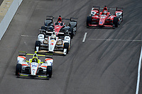 Verizon IndyCar Series<br /> Indianapolis 500 Race<br /> Indianapolis Motor Speedway, Indianapolis, IN USA<br /> Sunday 28 May 2017<br /> Ed Jones, Dale Coyne Racing Honda leads Helio Castroneves, Team Penske Chevrolet, Mikhail Aleshin, Schmidt Peterson Motorsports Honda and Graham Rahal, Rahal Letterman Lanigan Racing Honda down pit lane after pit stops.<br /> World Copyright: F. Peirce Williams<br /> LAT Images