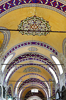 Detail of ceiling, Grand Bazaar, 15th century, Istanbul, Turkey. The Grand Bazaar, containing two bedestens (storage domes) is one of the largest and oldest covered markets in the world, selling jewellery, pottery, spice, and carpets. It was restored in the 16th and 19th centuries. Picture by Manuel Cohen.