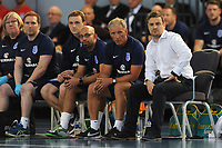 England Futsal manager Michael Skubala (right) and the England coaching staff during England vs Poland, International Futsal Friendly at St George's Park on 2nd June 2018