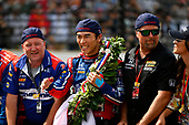 Verizon IndyCar Series<br /> Indianapolis 500 Race<br /> Indianapolis Motor Speedway, Indianapolis, IN USA<br /> Sunday 28 May 2017<br /> Takuma Sato, Michael Andretti Autosport Honda celebrates the win on track with Michael Andretti at the yard of bricks<br /> World Copyright: Scott R LePage<br /> LAT Images<br /> ref: Digital Image lepage-170528-indy-10659<br /> ref: Digital Image lepage-170528-indy-10737