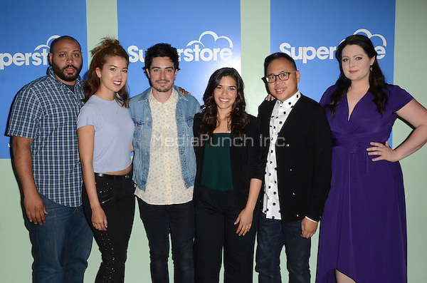LOS ANGELES, CA - JUNE 07: Colton Dunn, Nichole Bloom, Ben Feldman, America Ferrera, Nico Santos and Lauren Ash at FYC at UCB for NBC's 'Superstore' at UCB Sunset Theater on June 7, 2016 in Los Angeles, California. Credit: David Edwards/MediaPunch