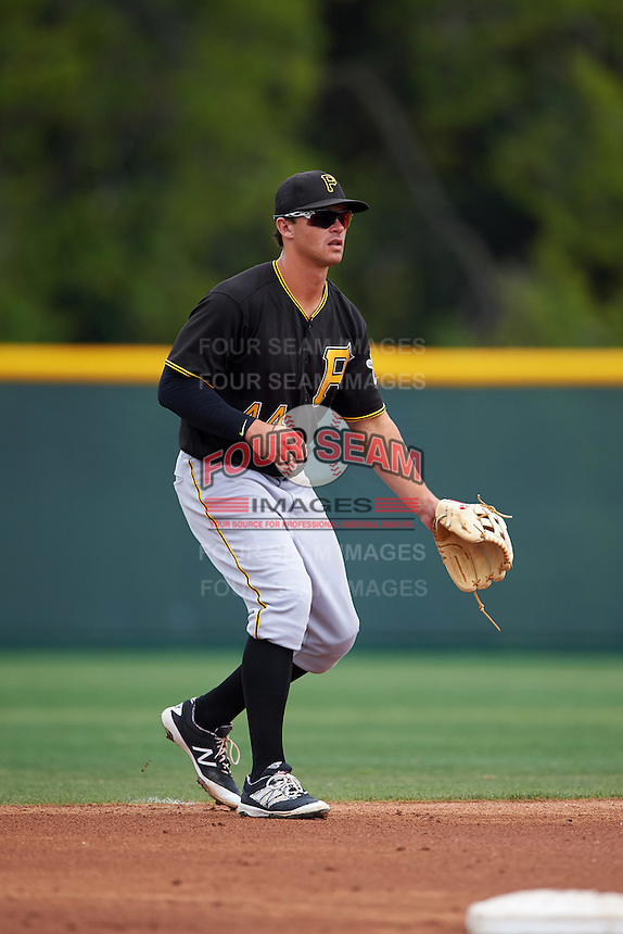 Pittsburgh Pirates Kevin Kramer (44) during a minor league Spring Training game against the Toronto Blue Jays on March 24, 2016 at Pirate City in Bradenton, Florida.  (Mike Janes/Four Seam Images)