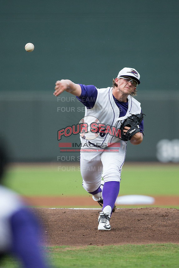 Winston-Salem Dash starting pitcher Carson Fulmer (16) delivers a pitch to the plate against the Myrtle Beach Pelicans in game one of the Carolina League Southern Division Championship series at BB&T Ballpark on September 9, 2015 in Winston-Salem, North Carolina.  (Brian Westerholt/Four Seam Images)