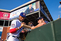 Byron Buxton (7) of the Chattanooga Lookouts signs autographs during a game between the Jackson Generals and Chattanooga Lookouts at AT&T Field on May 8, 2015 in Chattanooga, Tennessee. (Brace Hemmelgarn/Four Seam Images)