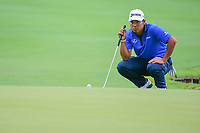 Hideki Matsuyama (JPN) looks over his putt on 13 during round 3 of the World Golf Championships, Dell Technologies Match Play, Austin Country Club, Austin, Texas, USA. 3/24/2017.<br /> Picture: Golffile | Ken Murray<br /> <br /> <br /> All photo usage must carry mandatory copyright credit (&copy; Golffile | Ken Murray)
